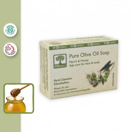 Натуральное увлажняющее мыло BIOselect с миррой и медом