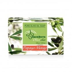 Натуральное оливковое мыло с Папайя и Манго Macrovita